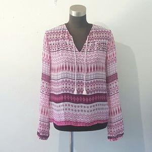 Decree Pink Print Sheer Blouse Size XS